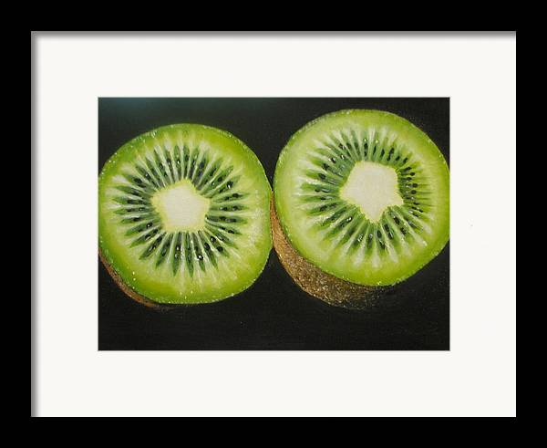 Kiwi Framed Print featuring the painting Green Kiwi Oil Painting by Natalja Picugina