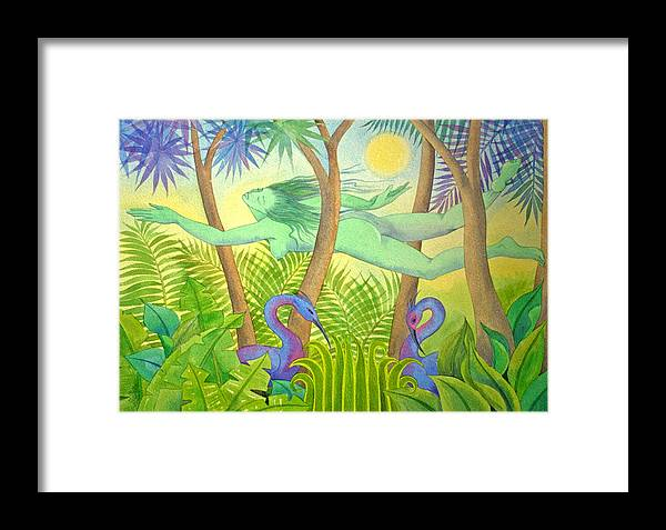 Jungle Flying Dream Exotic Birds Tropical Forest Sensuous Framed Print featuring the painting Green Lady Flying by Jennifer Baird