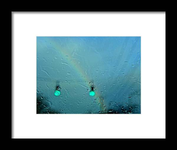 Rainbow Framed Print featuring the photograph Green Light To A Rainbow by Cheryl Kurman