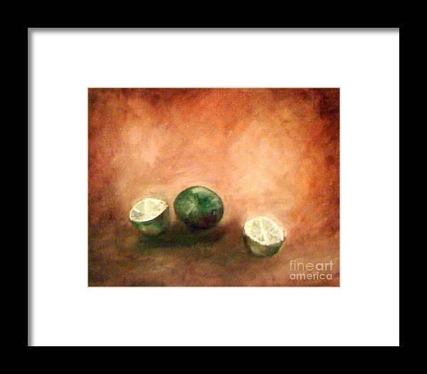 Brown Framed Print featuring the painting Green Limes by Simonne Mina