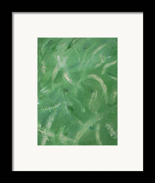 Abstract Framed Print featuring the painting Green Movement by Guillermo Mason