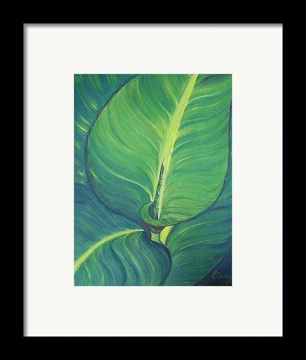 Leaves Framed Print featuring the painting Green by Murielle Hebert