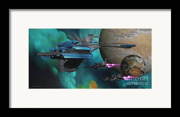 Space Art Framed Print featuring the painting Green Nebular Expanse by Corey Ford