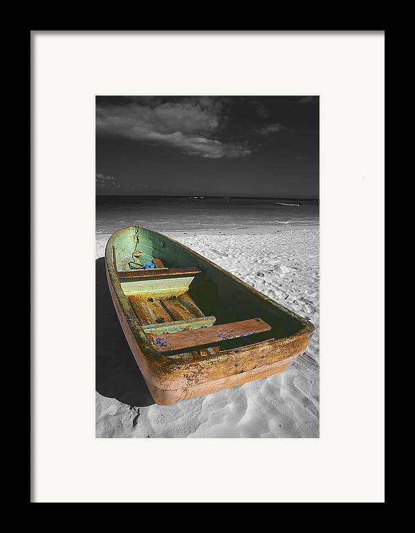 Photography Framed Print featuring the photograph Green Paddle Boat Playa Del Carmen by Tom Fant