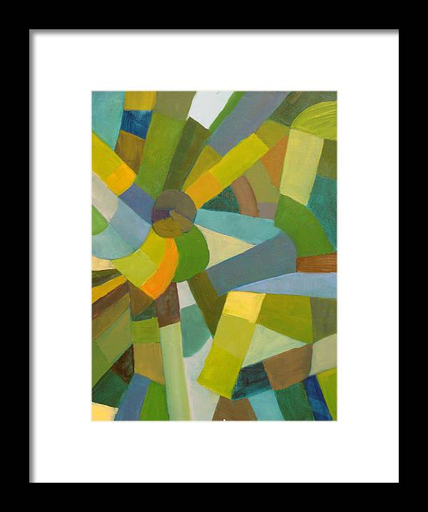 Green Framed Print featuring the painting Green Pallette by Art Nomad Sandra Hansen