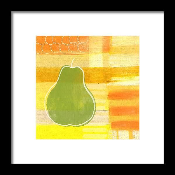 Pear Framed Print featuring the painting Green Pear- Art by Linda Woods by Linda Woods
