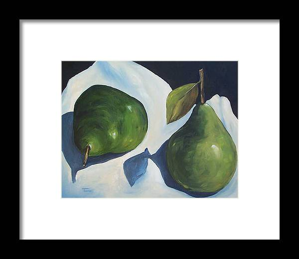 Green Pears Framed Print featuring the painting Green Pears On Linen - 2007 by Torrie Smiley