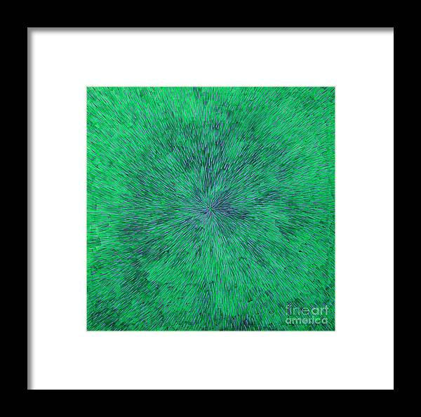 Abstract Framed Print featuring the painting Green Radation With Violet by Dean Triolo