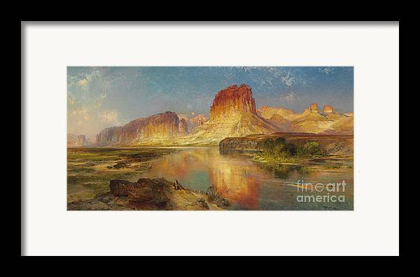 American Painting; American; Landscape; Castle Rock; Formation; Cliffs; Rocks; Reflection; Peaceful; Tranquil; Calm; Green River Of Wyoming Framed Print featuring the painting Green River Of Wyoming by Thomas Moran