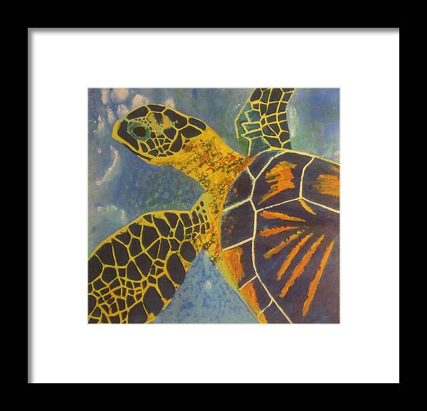 Turtle Paintings Framed Print featuring the painting Green Sea Turtle by Bryan Zingmark