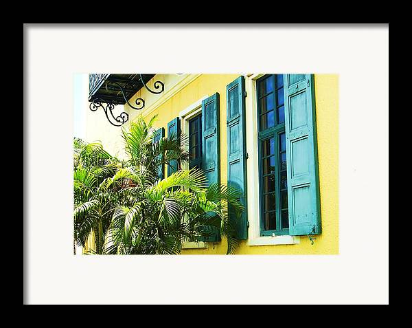 Architecture Framed Print featuring the photograph Green Shutters by Debbi Granruth