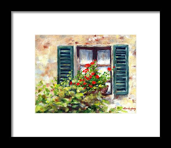 Floral Framed Print featuring the painting Green Shutters by Marsha Young