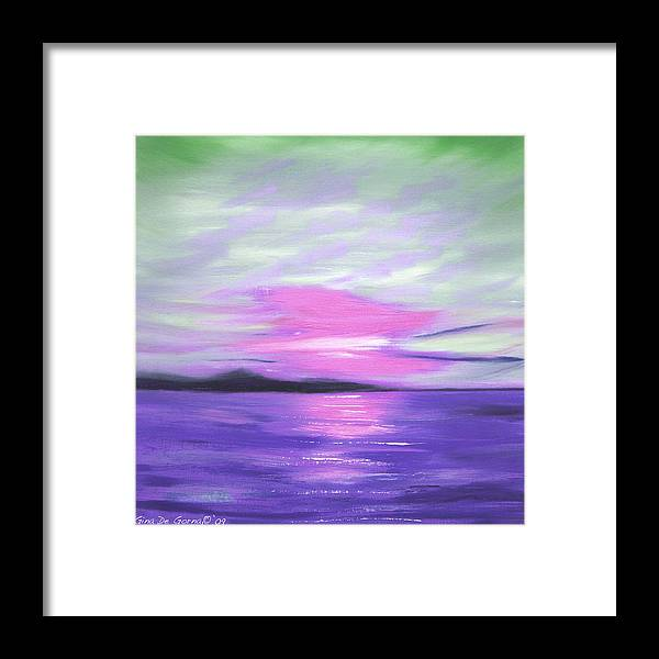Green Framed Print featuring the painting Green Skies And Purple Seas Sunset by Gina De Gorna