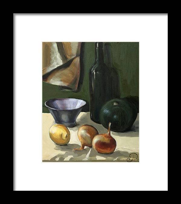 Still-life Green Yellow Cucurbit Lemon Onion Framed Print featuring the painting Green still-life by Raimonda Jatkeviciute-Kasparaviciene