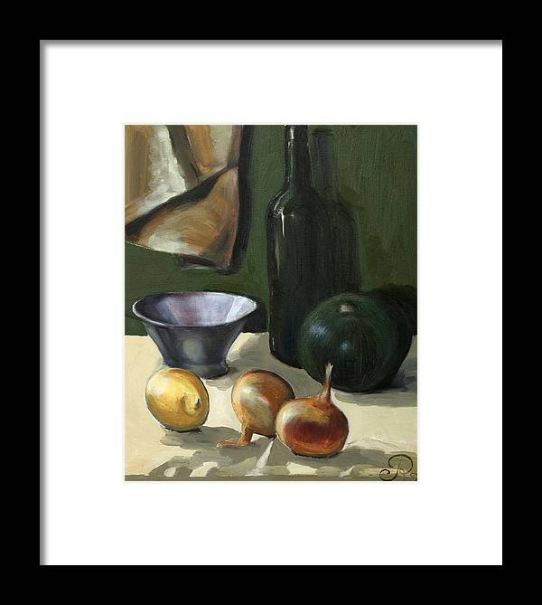Still-life Green Yellow Cucurbit Lemon Onion Framed Print featuring the painting Green Still-life by Raimonda Jatkeviciute-Kasparaviciene