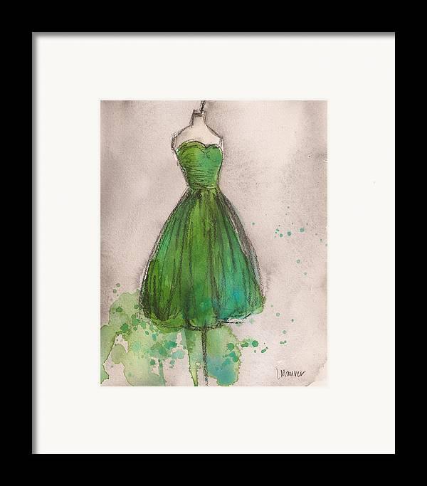 Green Framed Print featuring the painting Green Strapless Dress by Lauren Maurer