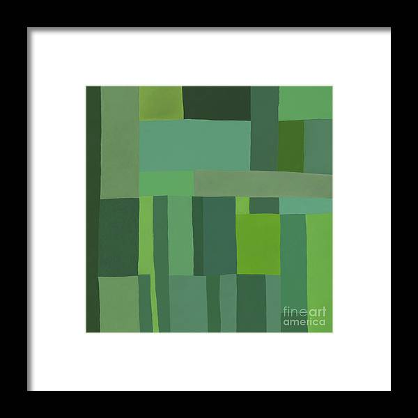 Green Stripes Framed Print featuring the digital art Green Stripes 2 by Elena Nosyreva