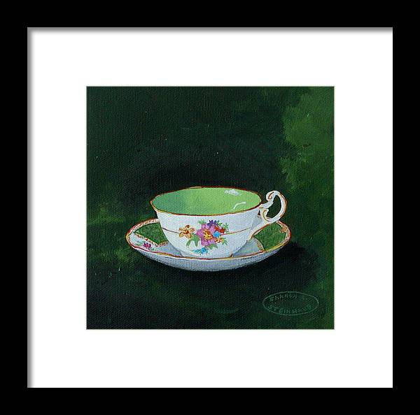 Cup And Saucer China Original Acrylic Painting Framed Print featuring the painting Green Teacup by Sharon Steinhaus