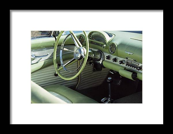 Photography Framed Print featuring the photograph Green Thunderbird Wheel And Front Seat by Heather Kirk
