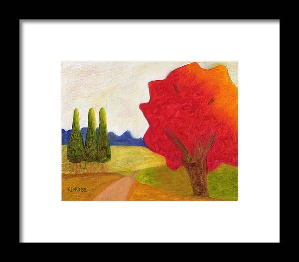 Landscape Framed Print featuring the painting Green Trees by Kelly Parker