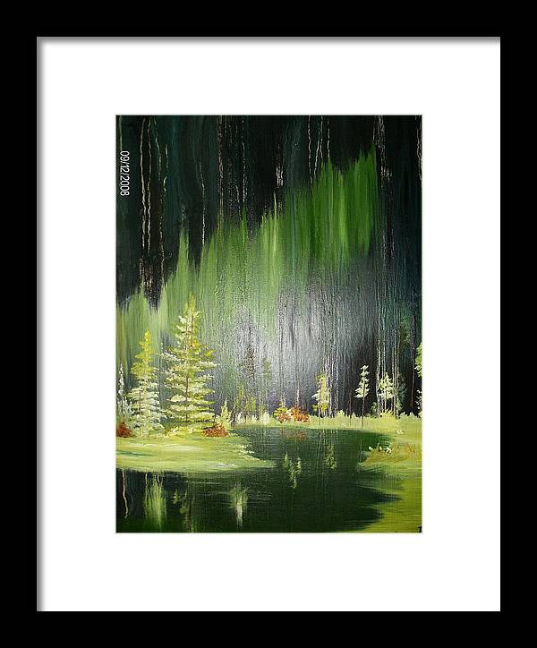 Pine Trees Framed Print featuring the painting Green Trees by Terry Lash
