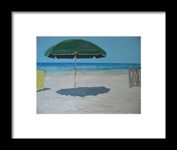 Seascape Framed Print featuring the painting Green Umbrella by John Terry