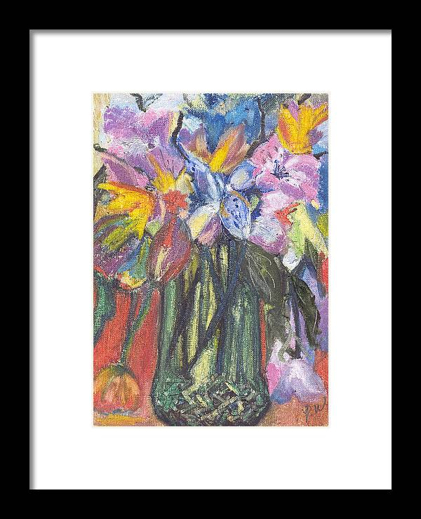 Oil Pastels Framed Print featuring the painting Green Vase by Pamela Wilson