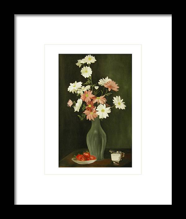 Still Life Framed Print featuring the painting Green Vase With Flowers by Angelo Thomas