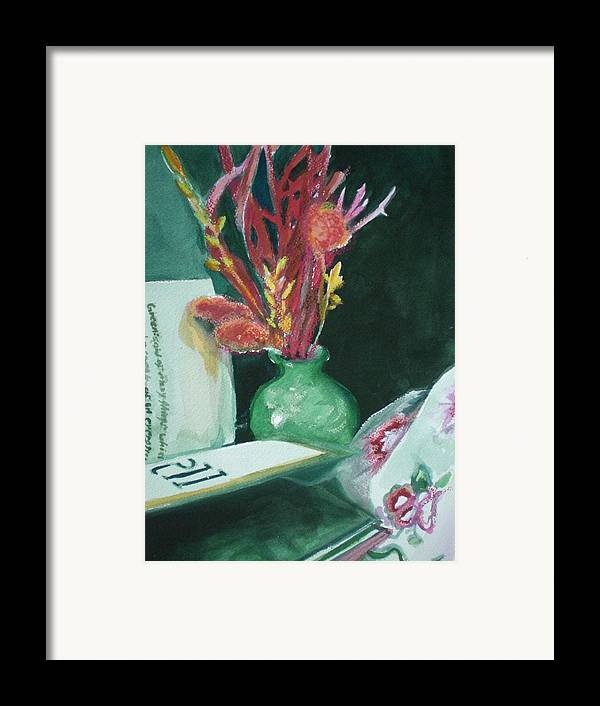 Still Life Framed Print featuring the painting Green Vase With Open Book by Aleksandra Buha