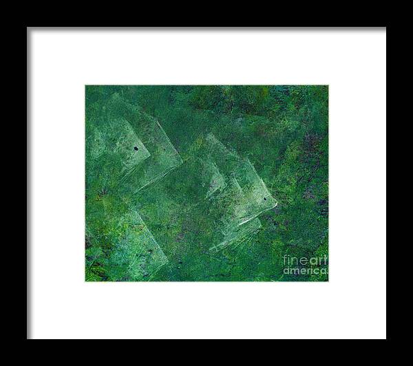A School Of Fish In Green Water- Monotype Print Framed Print featuring the painting Green Water by Mui-Joo Wee