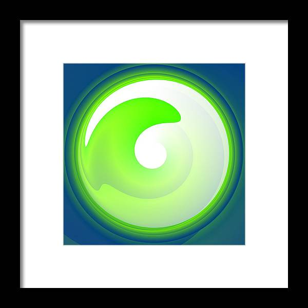 Green Framed Print featuring the digital art Green Wave by Lenka Rottova