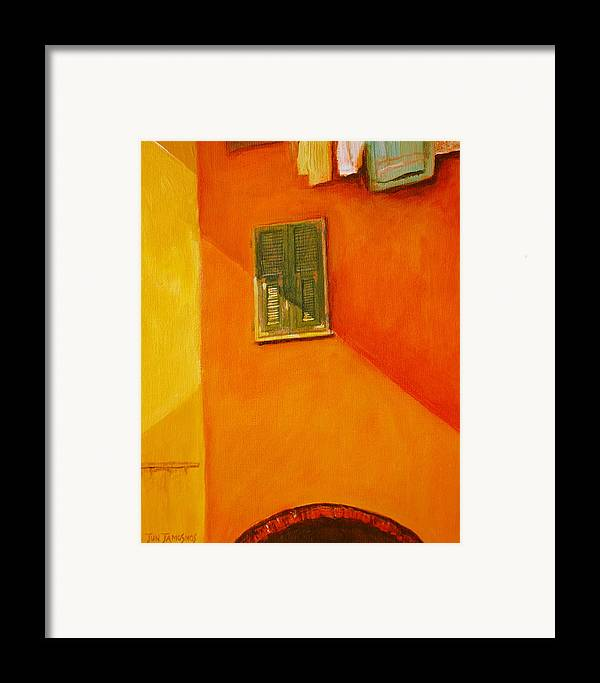 Window Framed Print featuring the painting Green Window by Jun Jamosmos