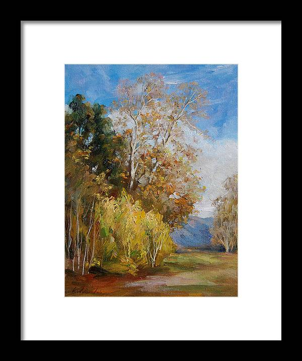 Landscape Framed Print featuring the painting Green Winter by Kelvin Lei