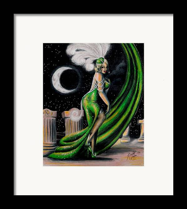 Night Framed Print featuring the drawing Green With Envy by Scarlett Royal