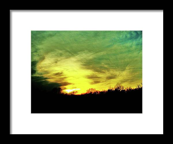 Virginia's Greenish Sky Framed Print featuring the photograph Greenish Sky Line by Robin Coaker