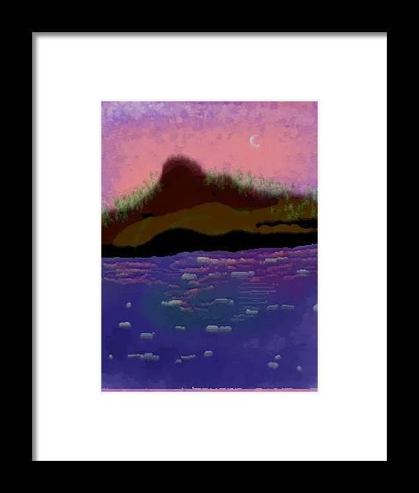 Sky.moon. Rose Sun Reflection.mount.forest. Island.sea.little Icebergs.deep Water Framed Print featuring the digital art Greenland.summer by Dr Loifer Vladimir