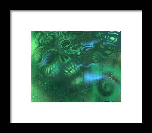 Skull Framed Print featuring the painting Greenskull by J P Lambert