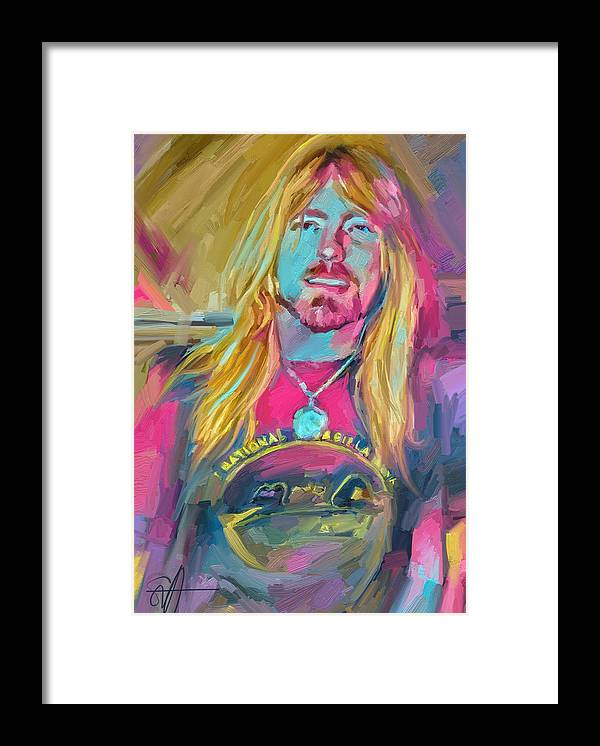 Gregg Allman Music Portrait Musician Rock Framed Print featuring the digital art Gregg by Scott Waters