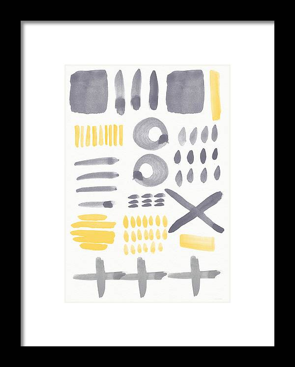 Grey And Yellow Framed Print featuring the painting Grey and Yellow Shapes- abstract painting by Linda Woods