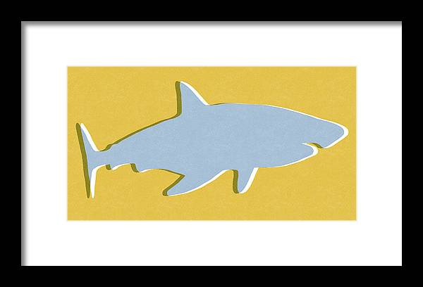 Shark Framed Print featuring the mixed media Grey and Yellow Shark by Linda Woods