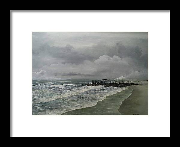 Seascape. Ocean Framed Print featuring the painting Grey Day At Ocean Grove by Ken Ahlering