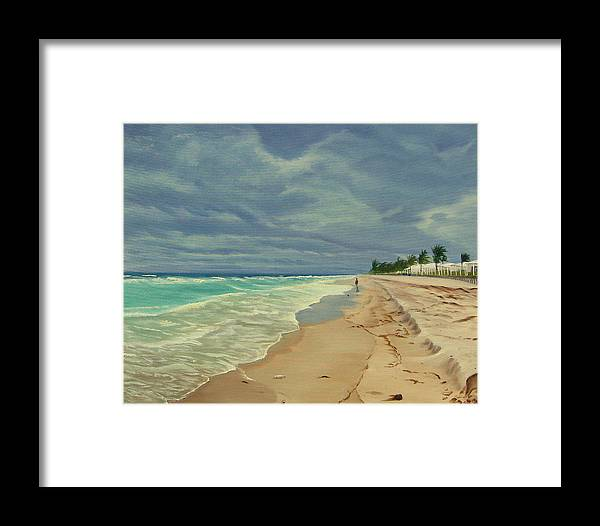 Beach Framed Print featuring the painting Grey Day On The Beach by Lea Novak