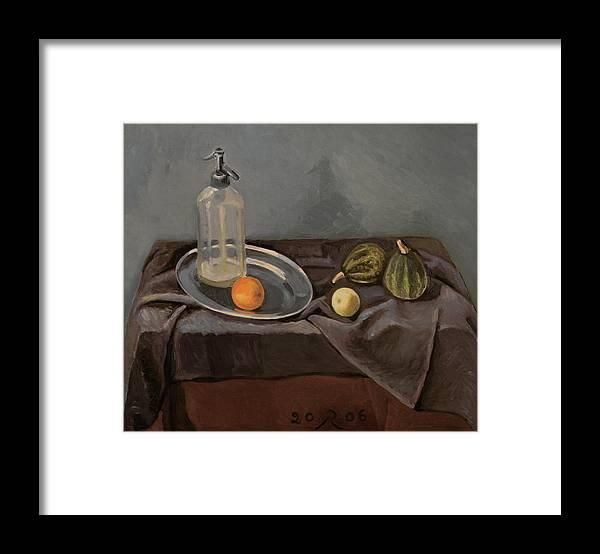 Still-life Grey Yellow Green Drapery Glass Metal Framed Print featuring the painting Grey Day by Raimonda Jatkeviciute-Kasparaviciene