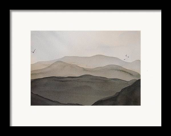 Landscape Framed Print featuring the painting Grey Mountains by Liz Vernand