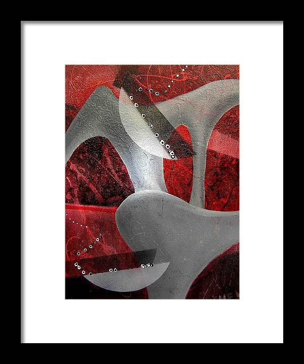 Abstract Framed Print featuring the painting Grey Object by Evguenia Men