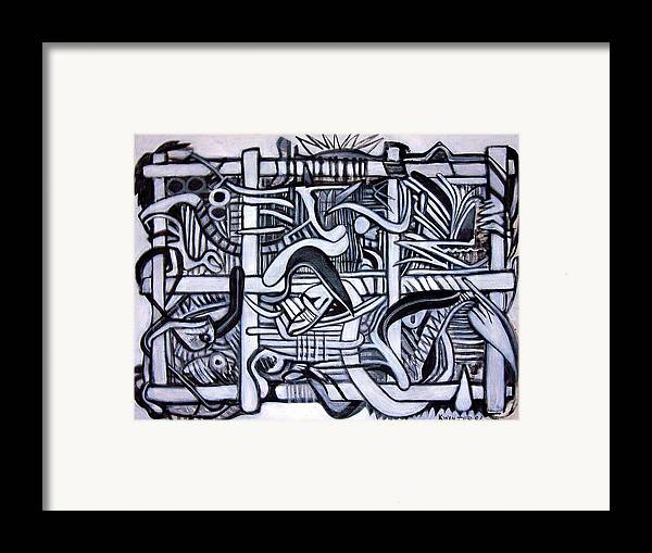 Abstract Black White Framed Print featuring the painting Grid by Dave Kwinter