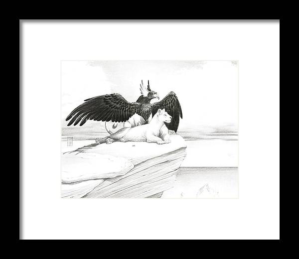 Griffin Framed Print featuring the painting Griffin And Lioness by Melissa A Benson