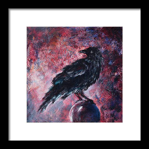 Raven Framed Print featuring the painting Grim And Ancient Raven by Sandy Applegate