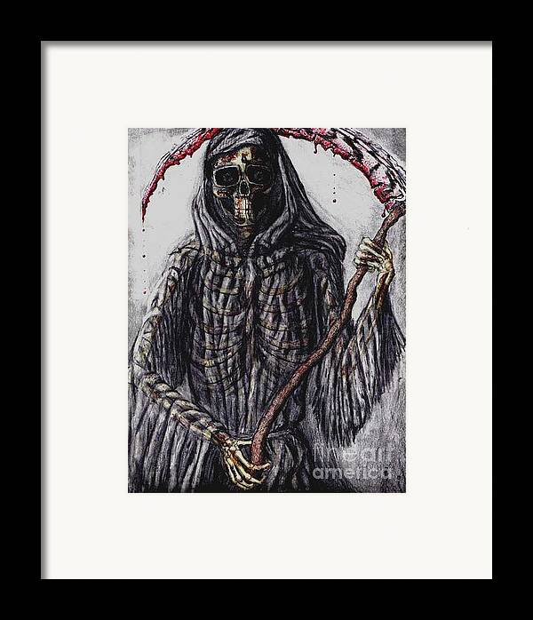 Grim Reaper Framed Print featuring the drawing Grim Reaper Colored by Katie Alfonsi