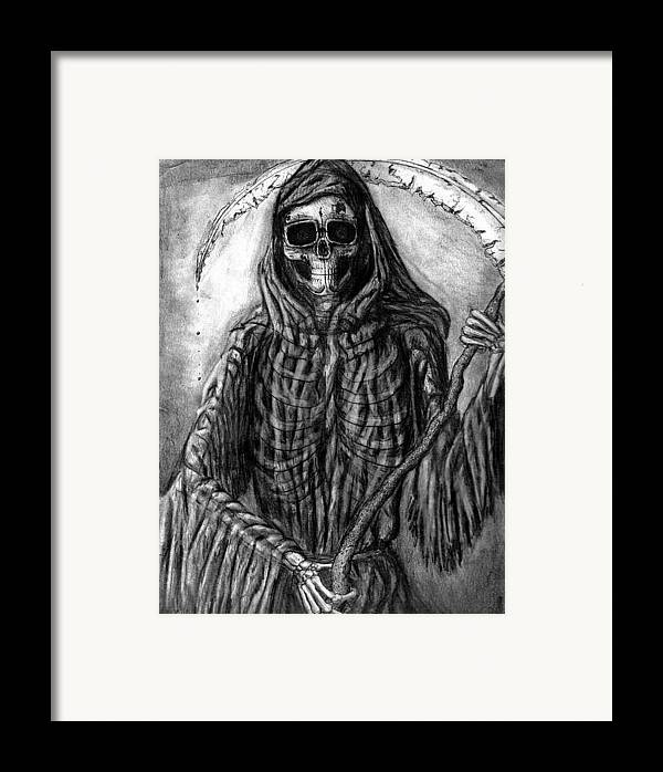 Grim Reaper Framed Print featuring the drawing Grim Reaper by Katie Alfonsi